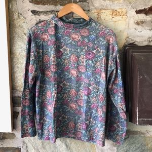 Vintage LLBean Floral Print Moc Turtleneck Sz L